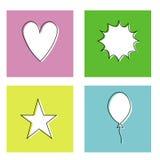 Bakgrund för vit för stjärna för hjärtaballongbang Fotografering för Bildbyråer