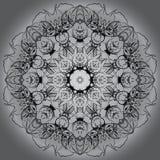 Bakgrund för vit för svart för monokrom för Mandalacirkelrunda Arkivbild