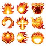 Bakgrund för vit för symbol för brandboll royaltyfri illustrationer
