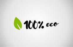 bakgrund 100% för vit för text för grönt blad för eco handskriven Arkivfoton