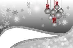Bakgrund för vit jul för silver Arkivfoto