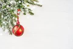 Bakgrund för vit jul med granträdet och röd garnering royaltyfri fotografi