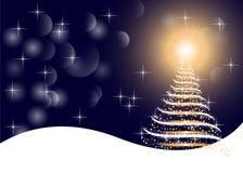 Bakgrund för vit för konst grafisk guld- och blå färgjul, med trädet, ljus, stjärnor och snö Arkivfoto