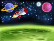Bakgrund för yttre rymdplanettecknad film Royaltyfria Bilder