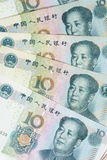 Bakgrund för 10 Yuan räkningar Arkivfoton