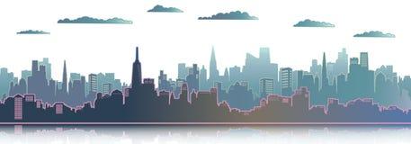 Bakgrund f?r illustration f?r stadsskyskrapavektor stock illustrationer