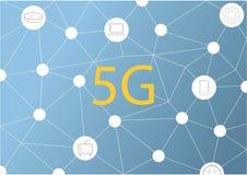 Bakgrund f?r internetuppkoppling 5G f?r vektor abstrakt ny tr?dl?s Snabbt n?tverk f?r globalt n?tverk symbol 5G construted med royaltyfri illustrationer