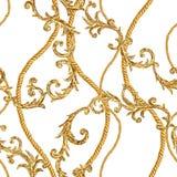 Bakgrund f?r modell f?r barock stil f?r glamour f?r guld- kedja s?ml?s vektor illustrationer