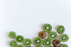 Bakgrund f?r profilen, design som skrivar ut med frukt skivad ny kiwi Basen f?r banret med kiwin Nytt och fotografering för bildbyråer
