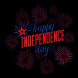 bakgrund fjärde juli Gratulationvykort Kort för USA lyckligt självständighetsdagenhälsning Vektorillustration med Royaltyfria Foton