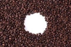 Bakgrund från bästa sikt med utrymme för kopia av kaffebönor arkivbild