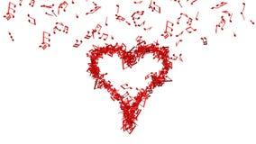Bakgrund från massor av röd musik noterar stor hjärta för danande en Royaltyfri Foto