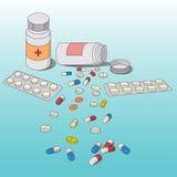 Bakgrund från medicinal tablets Arkivfoton