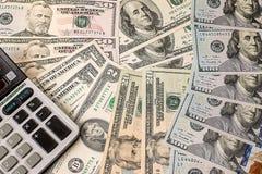 Bakgrund från pappers- dollar av olik fördel Royaltyfri Bild