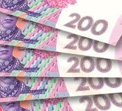 Bakgrund från ukrainska sedlar Arkivfoto