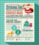 Bakgrund för affisch för julparti i tidningsstil Arkivfoto