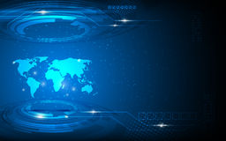 Bakgrund för begrepp för innovation för hög tech för världskarta för vektor abstrakt Arkivfoto
