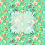 Bakgrund för beröm för födelsedagparti med emblemet Arkivfoton