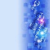 Bakgrund för blått för affärskugghjulabstrakt begrepp Arkivfoto