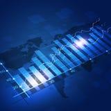 Bakgrund för finansdiagramblått Royaltyfria Bilder
