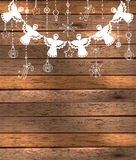 Bakgrund för glad jul med änglar och leksaker Royaltyfri Bild