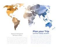 Bakgrund för polygon för orange världskarta för blåa grå färger låg på vit Arkivfoton