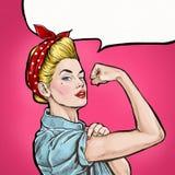 Bakgrund för popkonst kan göra Iconic kvinnas näve/symbol av kvinnlig makt och bransch annonsering Flicka för popkonst Arkivbild