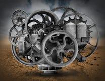 Bakgrund för tappningSteampunk industriell maskin Royaltyfri Fotografi