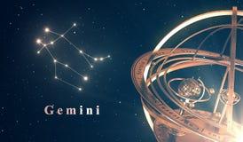 Bakgrund för zodiakkonstellationGemini And Armillary Sphere Over blått Arkivfoton