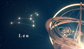 Bakgrund för zodiakkonstellationLeo And Armillary Sphere Over blått Arkivfoto