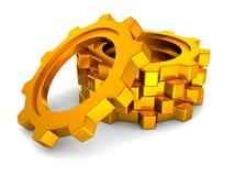 bakgrund gears vita guld- industriella hjul royaltyfri illustrationer