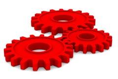 bakgrund gears white för red tre stock illustrationer