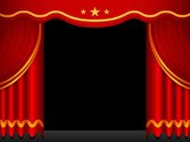 bakgrund hänger upp gardiner den röda etappen royaltyfri illustrationer