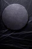 bakgrund halloween Svart måne- och spindelrengöringsduk mörk lampa Arkivbild