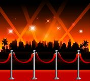 Bakgrund Hollywood för röd matta stock illustrationer