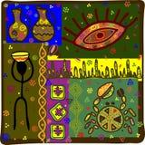 Bakgrund i afrikansk etnisk stil royaltyfri illustrationer