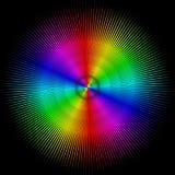 Bakgrund i form av en kulör boll med strålar som isoleras på en svart stock illustrationer