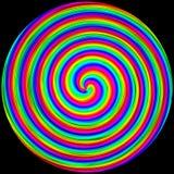 Bakgrund i form av en kulör cirkel röra sig i spiral på en svart royaltyfri illustrationer