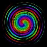 Bakgrund i form av vridna spiral av kulöra strålar på en svart Vektorillustration för rengöringsdukdesign stock illustrationer