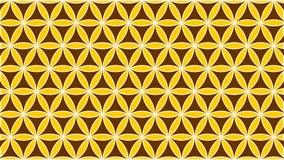 Bakgrund innehöll att gripa in i varandra cirklar som ströddes in med former och rosor och guld- färger royaltyfri illustrationer