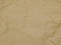 Bakgrund inpackningspapper, textur, brunt, skrynkla arkivbild