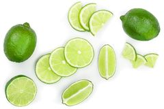 bakgrund isolerad limefrukt skivad white Top beskådar Lekmanna- modell för lägenhet arkivbild