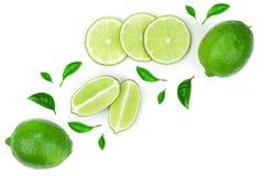 bakgrund isolerad limefrukt skivad white Top beskådar Lekmanna- modell för lägenhet arkivfoto