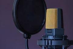 bakgrund isolerad mikrofonstudiowhite Arkivbilder