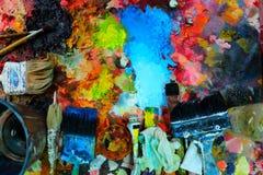 bakgrund isolerad paintbrushpalettwhite royaltyfri bild