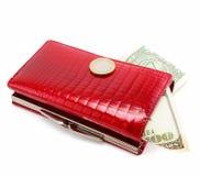 bakgrund isolerad röd white för handväska Royaltyfria Bilder