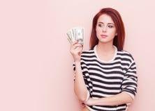 bakgrund isolerade pengar över den vita kvinnan Royaltyfria Foton