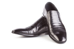 bakgrund isolerade vita skor för skuggor för lädermanobjekt Arkivfoton