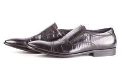 bakgrund isolerade vita skor för skuggor för lädermanobjekt Royaltyfri Foto