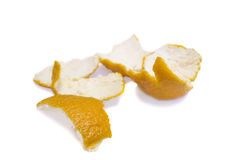 bakgrund isolerade white för orange peel Arkivbilder